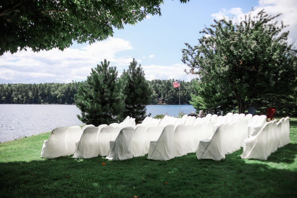 view of the wedding ceremony and the lake