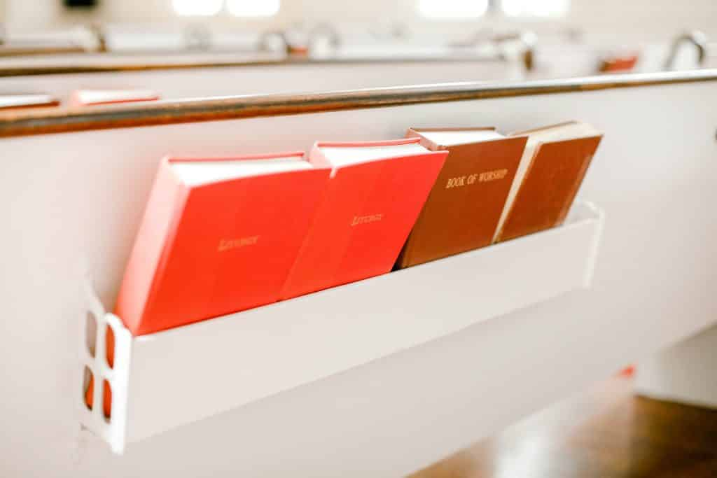red bibles in the church