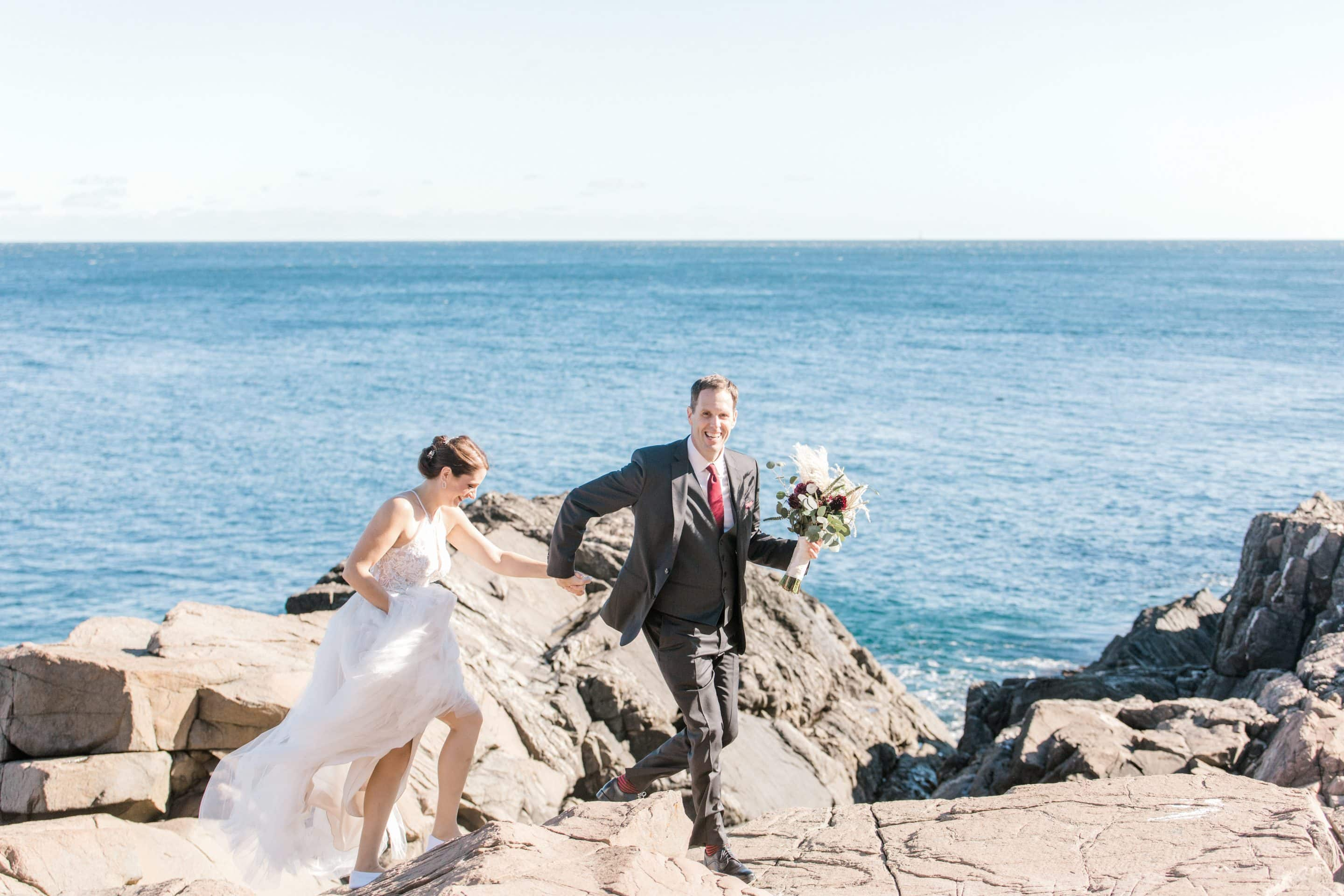 Bride and Groom on the Cliffs of Maine at the Cliff House in Oqunquit Maine