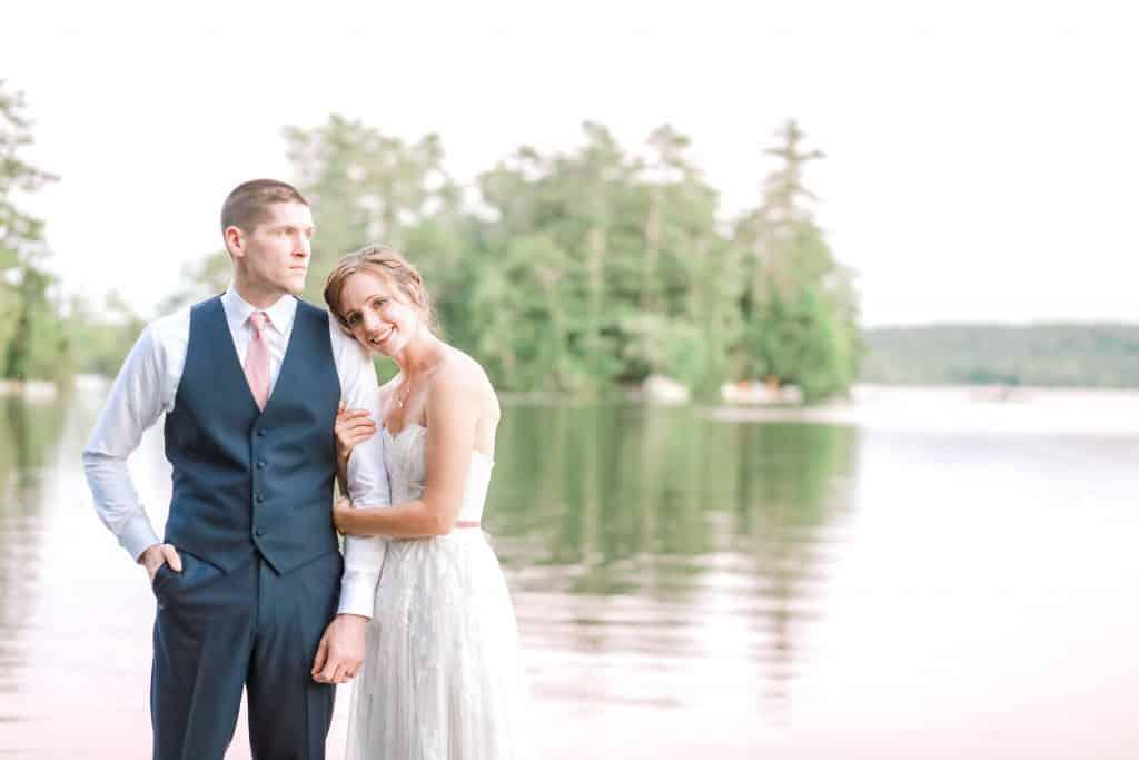 Bride and groom portrait at maine lake wedding venue Alamoosook lakeside inn