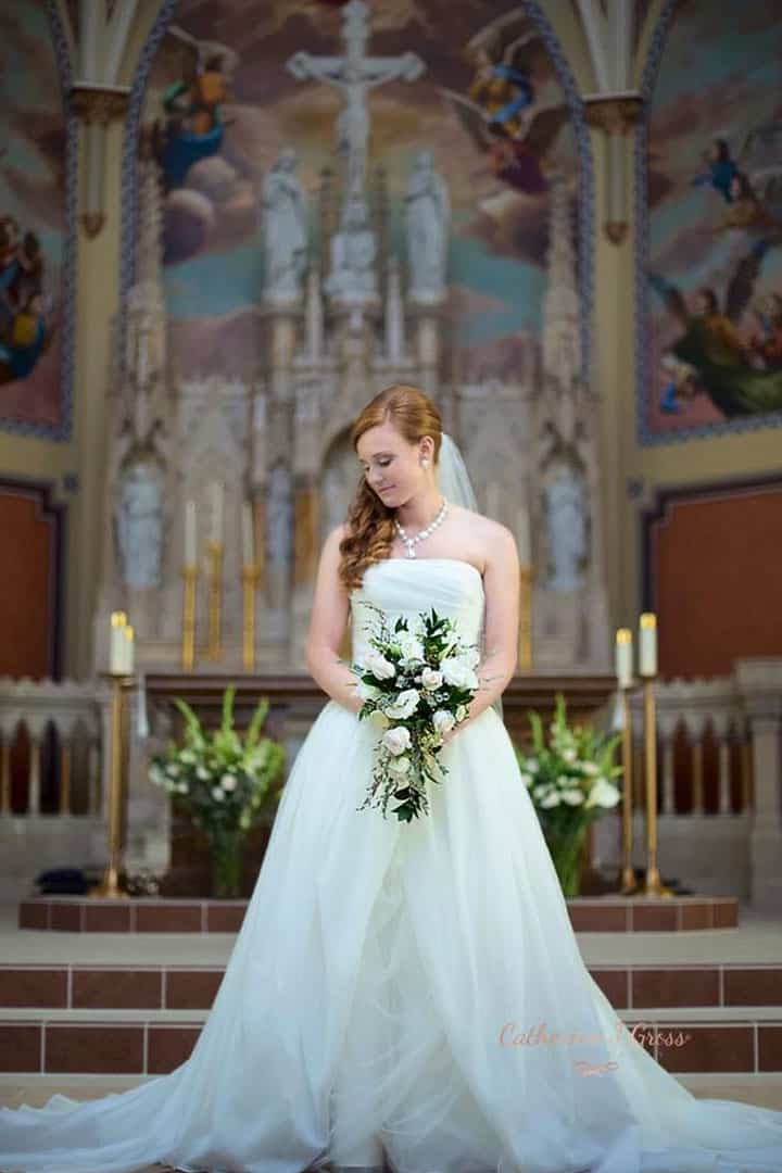 bride at alter in maine