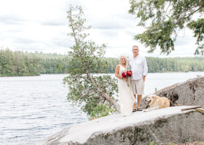 wedding portraits on a maine lake
